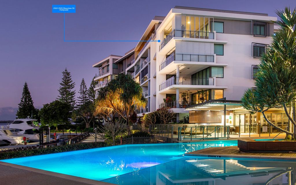 Exclusive top floor luxury apartment with sweeping Broadwater views.