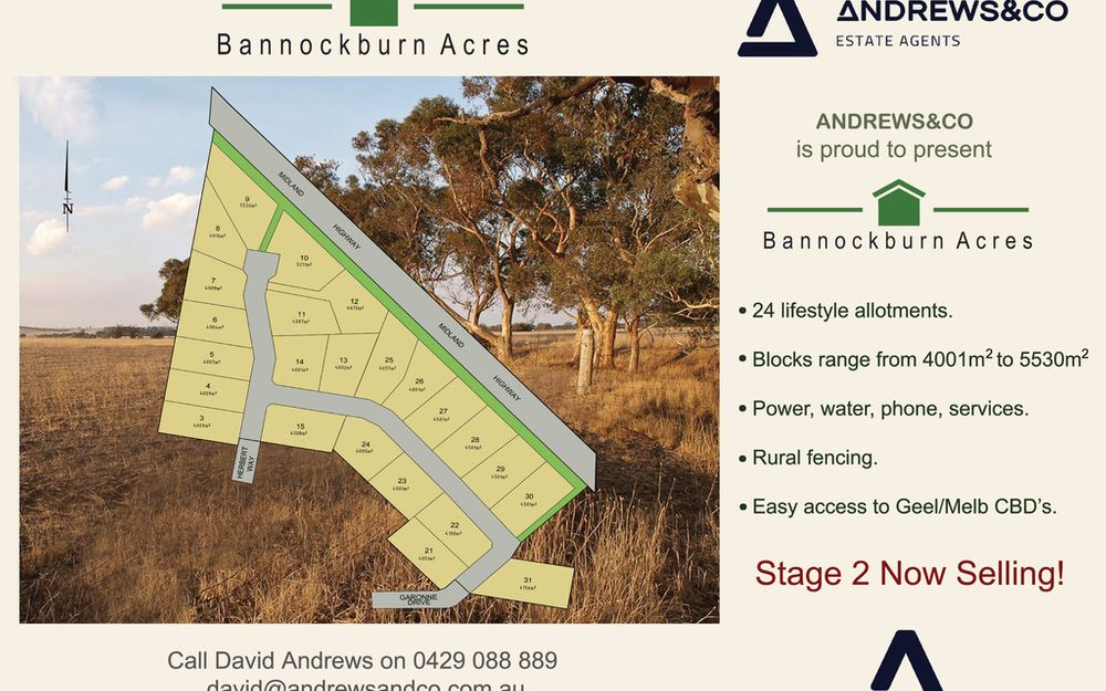 NOW SELLING ! Stage 2 Bannockburn Acres Estate
