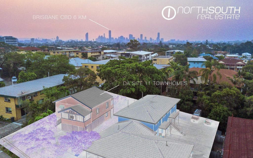 Approved Townhome Development Site with potential City Views (watch 1 min video), only 6 km from Brisbane CBD with $71.5k P.A. Holding Income!